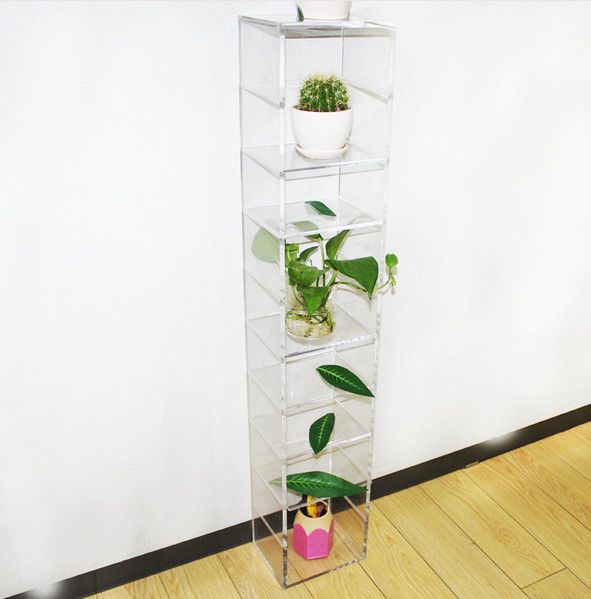 Home Decorative Clear Free Standing Flower Acrylic Display Stands 120*2200*200mm